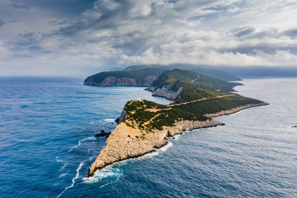 Aerial view of Cape of Ducato in Lefkada island- Greece